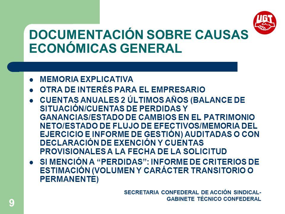 9 DOCUMENTACIÓN SOBRE CAUSAS ECONÓMICAS GENERAL MEMORIA EXPLICATIVA OTRA DE INTERÉS PARA EL EMPRESARIO CUENTAS ANUALES 2 ÚLTIMOS AÑOS (BALANCE DE SITUACIÓN/CUENTAS DE PERDIDAS Y GANANCIAS/ESTADO DE CAMBIOS EN EL PATRIMONIO NETO/ESTADO DE FLUJO DE EFECTIVOS/MEMORIA DEL EJERCICIO E INFORME DE GESTIÓN) AUDITADAS O CON DECLARACIÓN DE EXENCIÓN Y CUENTAS PROVISIONALES A LA FECHA DE LA SOLICITUD SI MENCIÓN A PERDIDAS: INFORME DE CRITERIOS DE ESTIMACIÓN (VOLUMEN Y CARÁCTER TRANSITORIO O PERMANENTE)