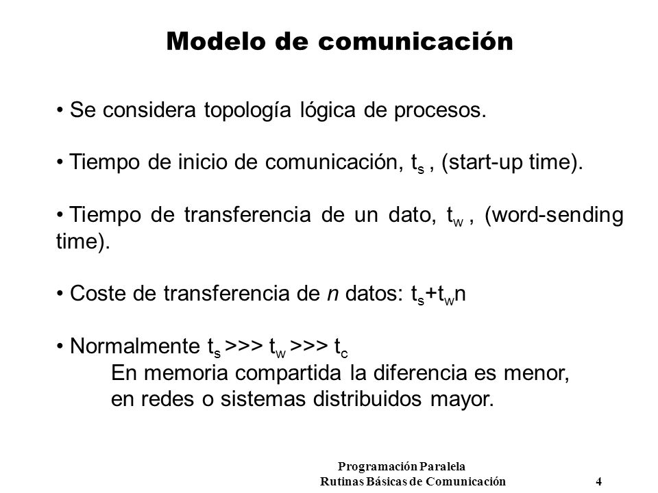 Programación Paralela Rutinas Básicas de Comunicación 4 Modelo de comunicación Se considera topología lógica de procesos. Tiempo de inicio de comunica