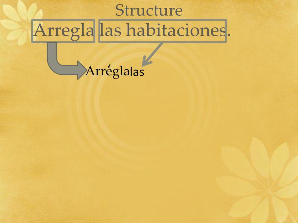 Structure Arregla las habitaciones. – Arregla las