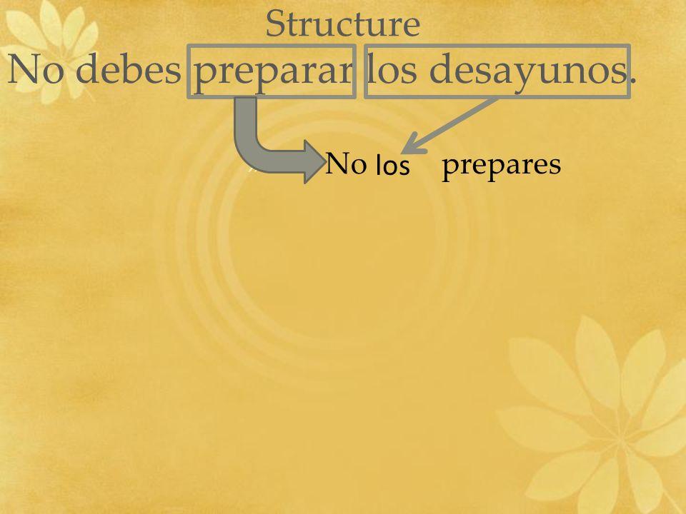 Structure No debes preparar los desayunos. » No prepares los