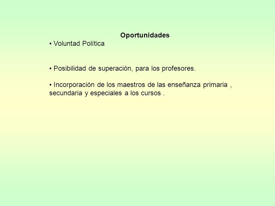 Oportunidades Voluntad Política Posibilidad de superación, para los profesores. Incorporación de los maestros de las enseñanza primaria, secundaria y