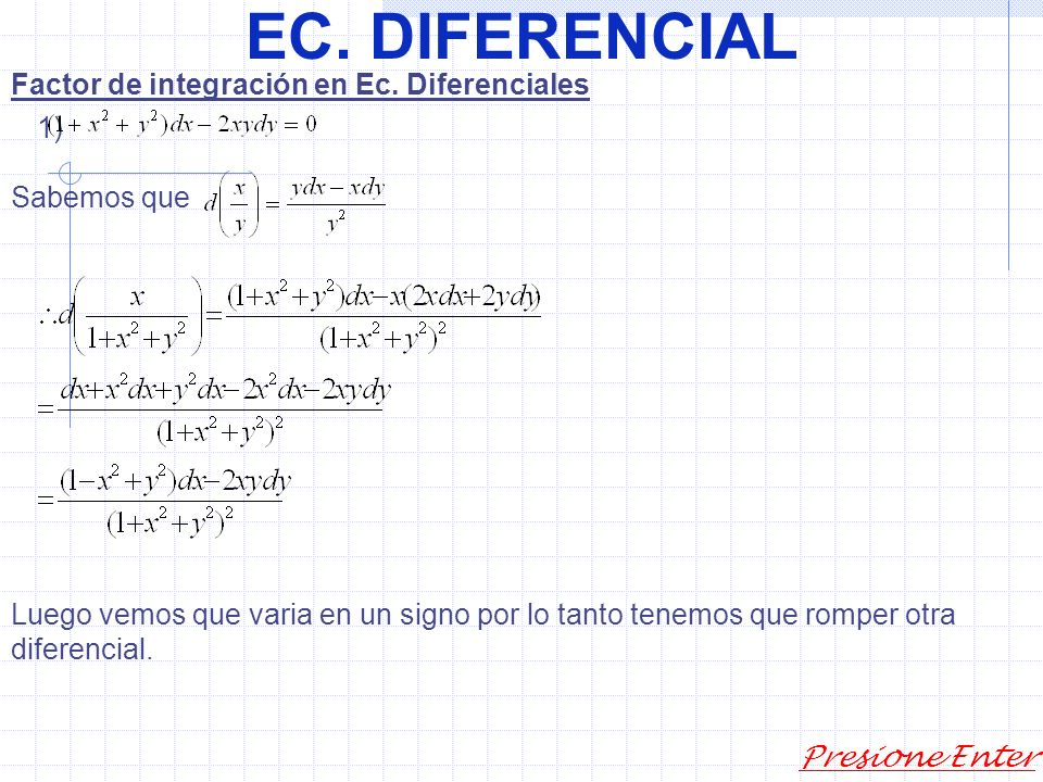 EC. DIFERENCIAL Presione Enter 2) sustitución