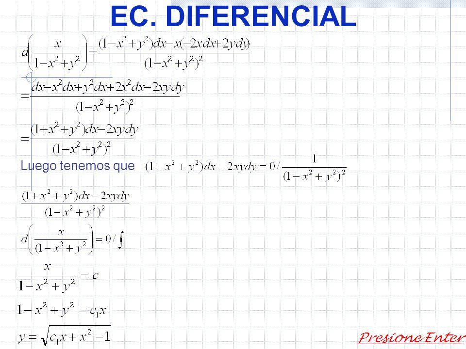 EC. DIFERENCIAL Presione Enter Factor de integración en Ec. Diferenciales 1) Sabemos que Luego vemos que varia en un signo por lo tanto tenemos que ro