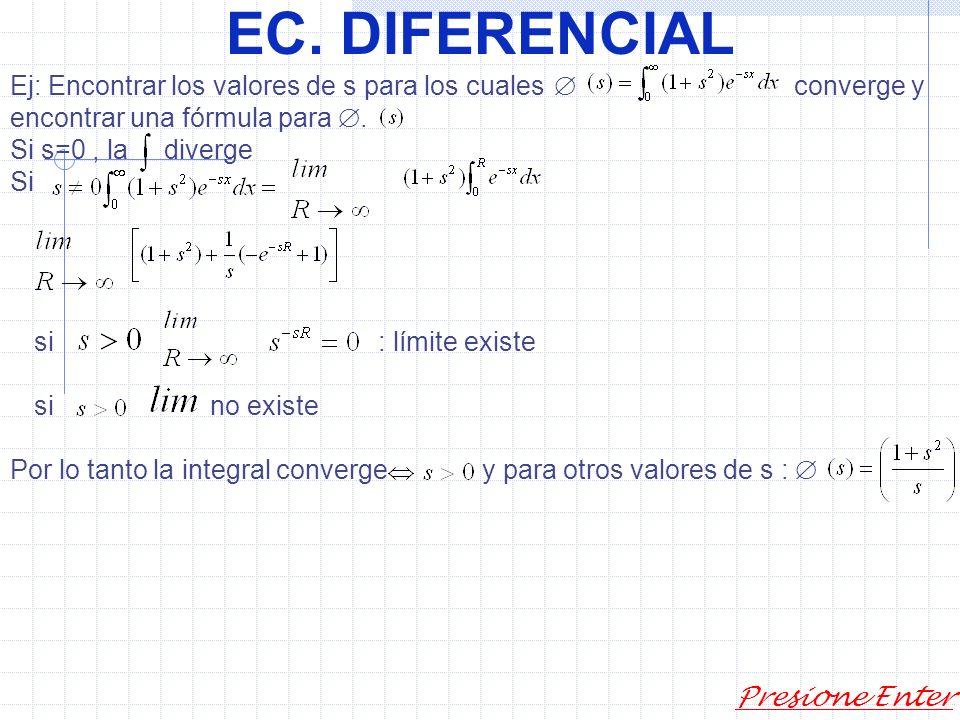 EC. DIFERENCIAL Presione Enter Ecuaciones diferenciales Transformadas de Laplace. Se definen en términos de la integral impropia. Recordar la integral