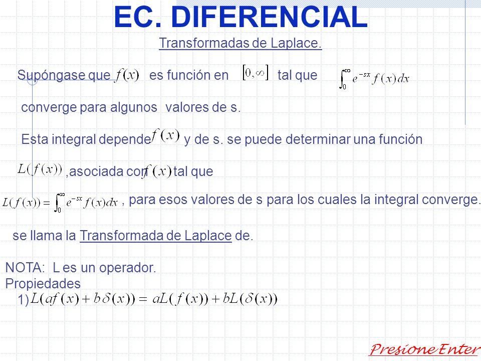 EC. DIFERENCIAL Presione Enter Ej: Encontrar los valores de s para los cuales converge y encontrar una fórmula para. Si s=0, la diverge Si si: límite