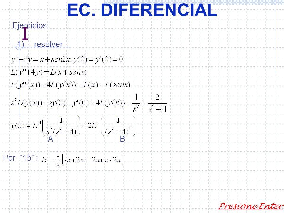 EC. DIFERENCIAL Presione Enter Análogamente si, entonces y NOTA: Las transformadas de pueden calcularse como anteriormente.