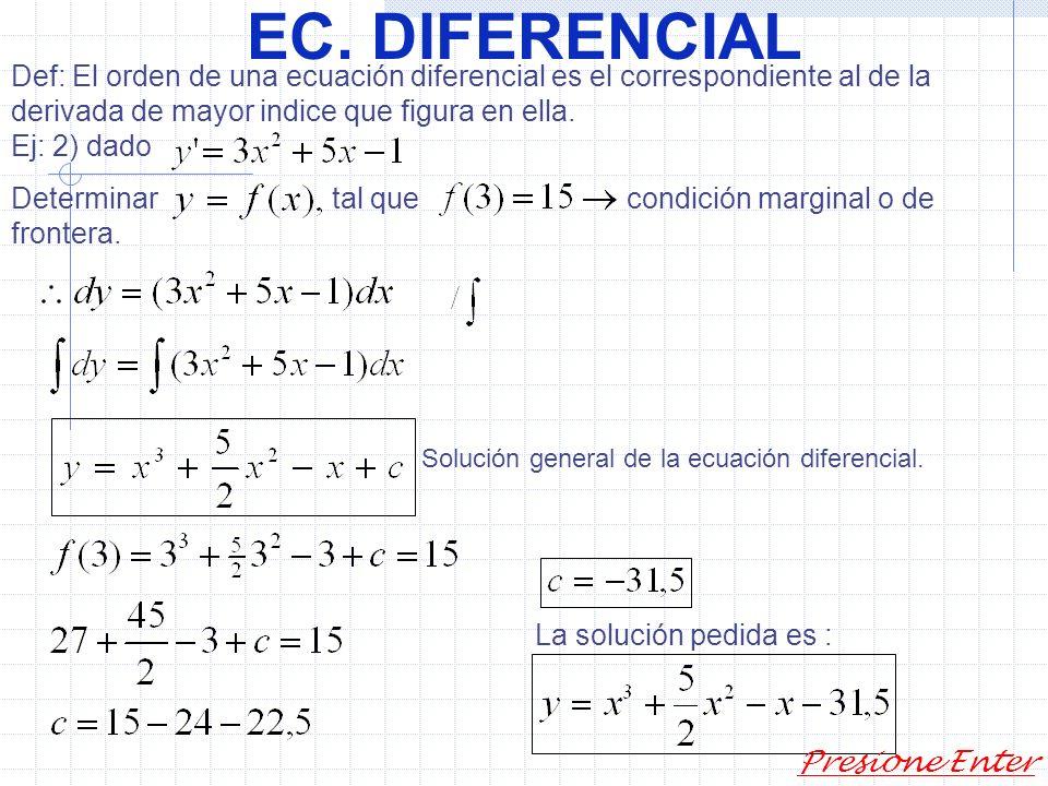EC. DIFERENCIAL Def: Se llama ecuación diferencial a una relación que contiene una o varias derivadas de una función no especificada y con respecto a