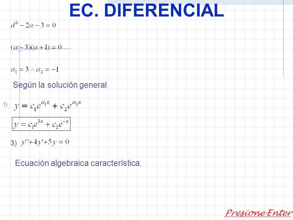 EC. DIFERENCIAL Presione Enter por 2 y 9 se tiene 1) Resolver la ecuación: Se puede resolver utilizando la ecuación auxiliar.