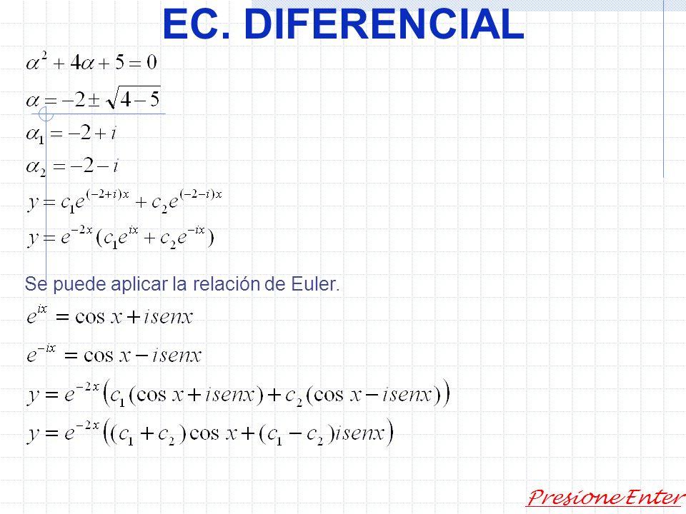 Presione Enter EC. DIFERENCIAL Según la solución general 1) 3) Ecuación algebraica característica.