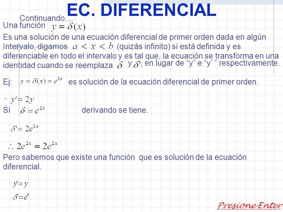 EC. DIFERENCIAL Def: El orden de una ecuación diferencial es el correspondiente al de la derivada de mayor indice que figura en ella. Ej: 2) dado Dete
