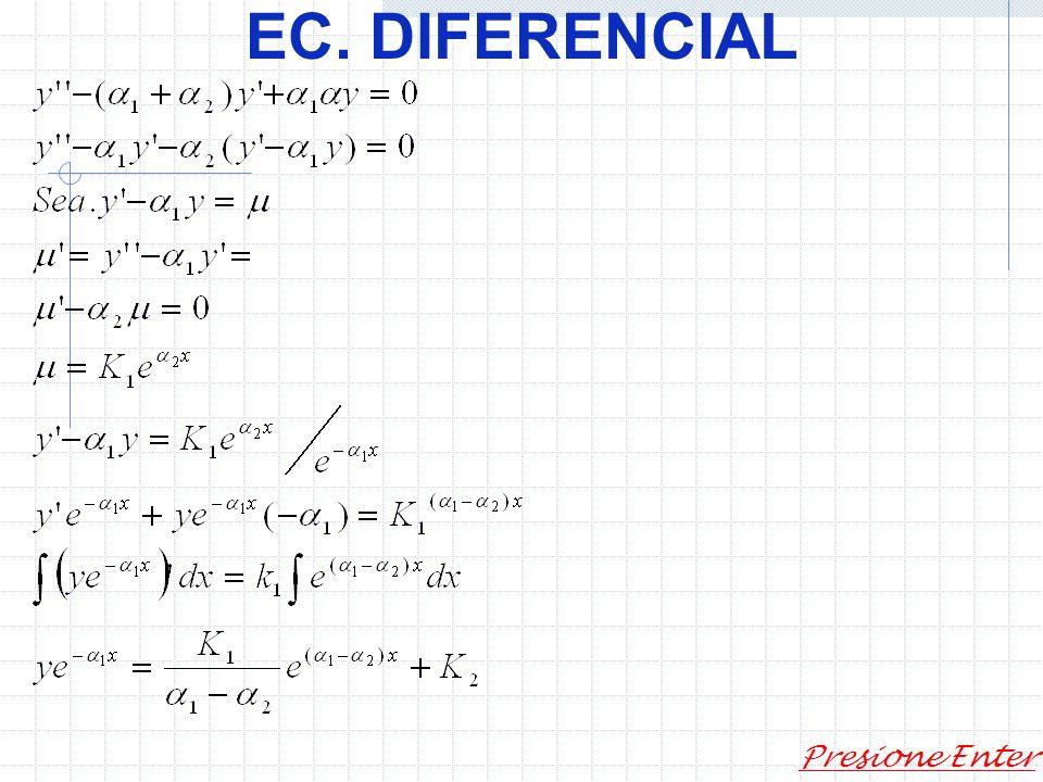 EC. DIFERENCIAL Presione Enter Casos particulares: a) b) c)son complejas conjugadas. Como b)..Sí Se tiene: