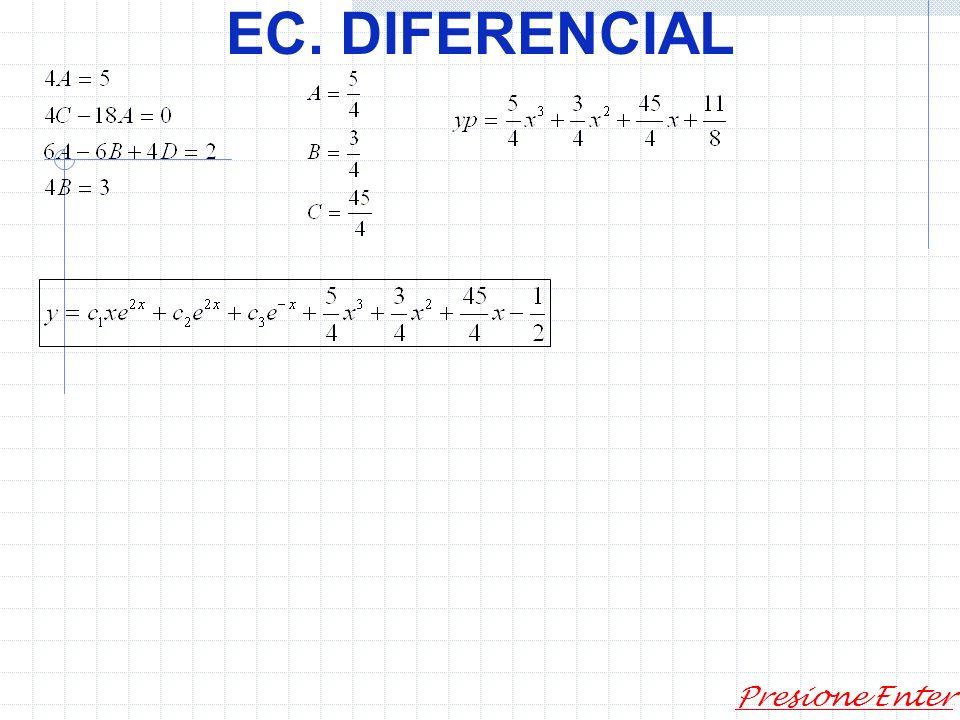 EC. DIFERENCIAL Presione Enter Solución particular