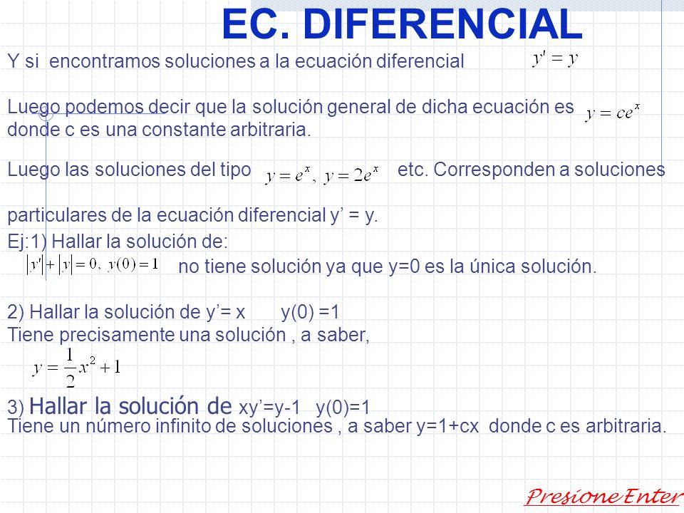 EC. DIFERENCIAL Una función Es una solución de una ecuación diferencial de primer orden dada en algún Intervalo, digamos (quizás infinito) si está def