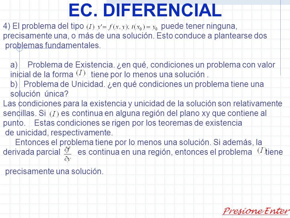EC. DIFERENCIAL Presione Enter Y si encontramos soluciones a la ecuación diferencial Luego podemos decir que la solución general de dicha ecuación es