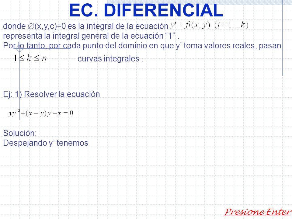 EC.DIFERENCIAL Presione Enter Reemplazando en 3 se tiene: que es una ecuación de 1ª orden para.