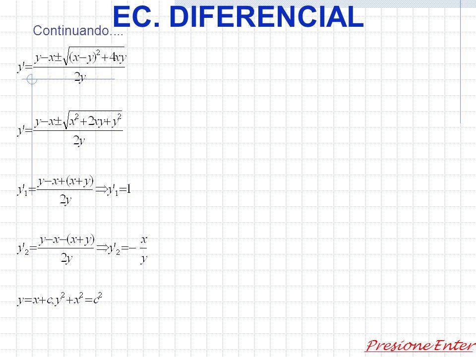 EC. DIFERENCIAL Presione Enter donde (x,y,c)=0 es la integral de la ecuación representa la integral general de la ecuación 1. Por lo tanto, por cada p