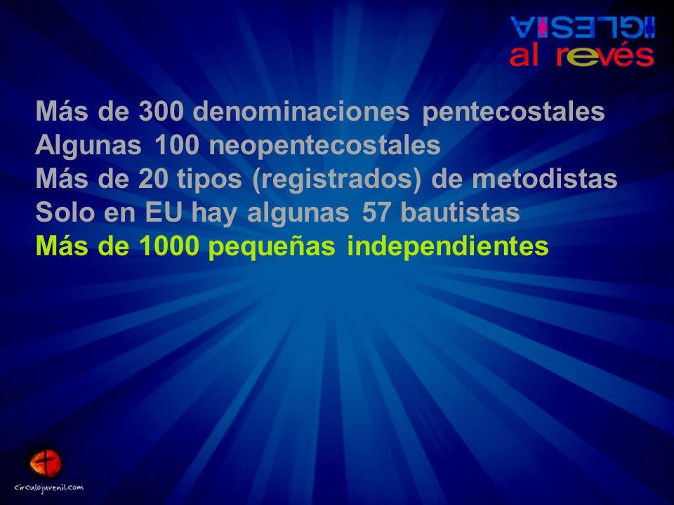 Más de 300 denominaciones pentecostales Algunas 100 neopentecostales Más de 20 tipos (registrados) de metodistas Solo en EU hay algunas 57 bautistas M