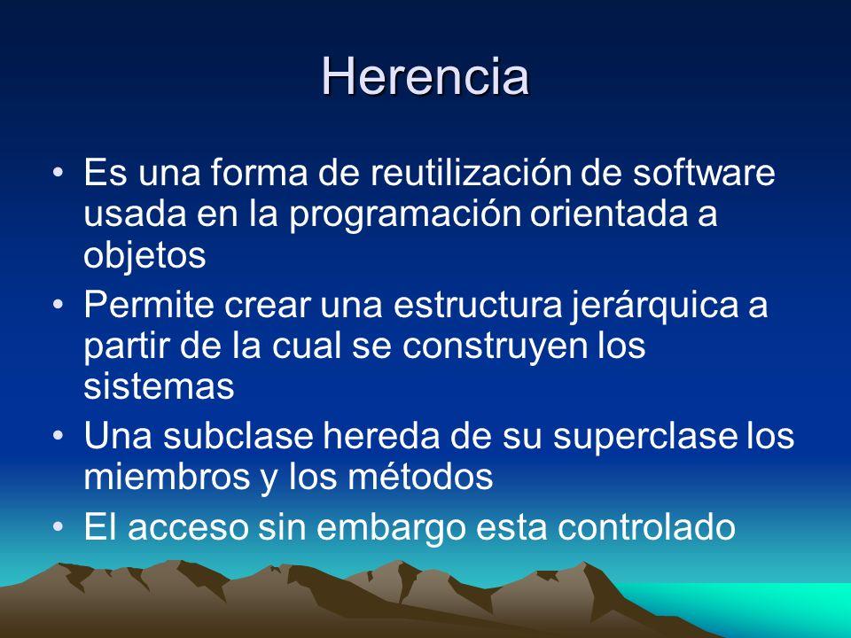 Herencia Es una forma de reutilización de software usada en la programación orientada a objetos Permite crear una estructura jerárquica a partir de la cual se construyen los sistemas Una subclase hereda de su superclase los miembros y los métodos El acceso sin embargo esta controlado