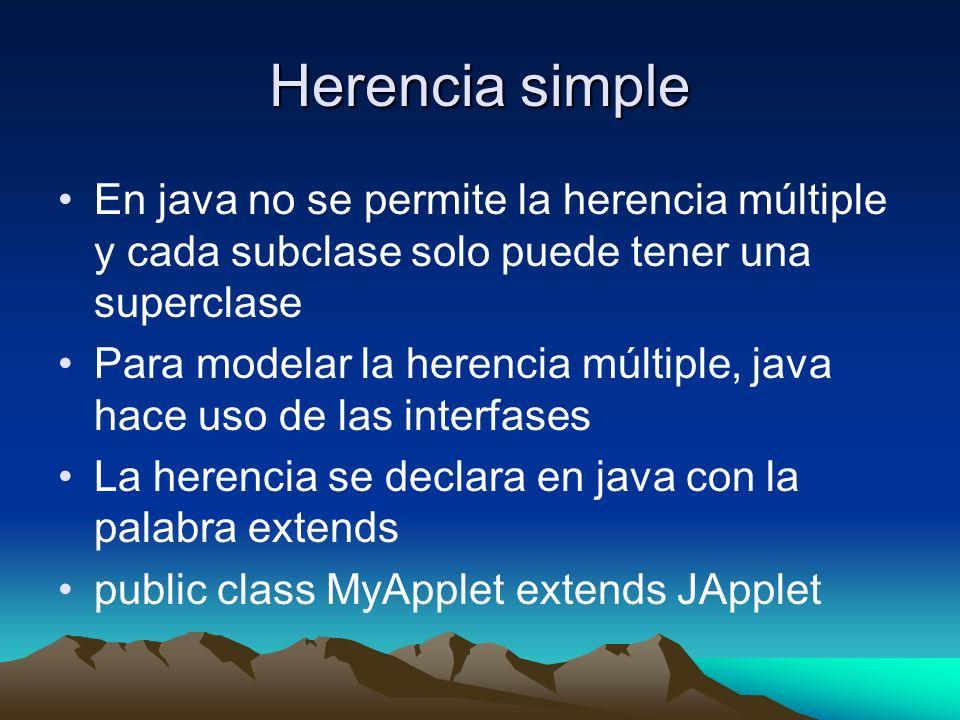 Herencia simple En java no se permite la herencia múltiple y cada subclase solo puede tener una superclase Para modelar la herencia múltiple, java hac
