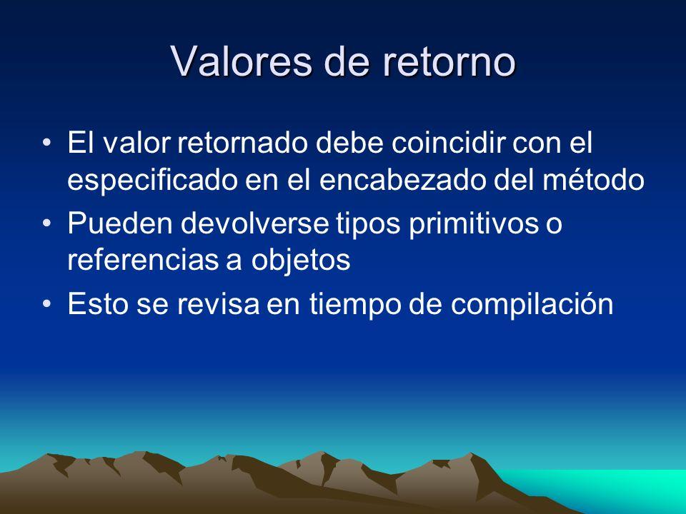 Valores de retorno El valor retornado debe coincidir con el especificado en el encabezado del método Pueden devolverse tipos primitivos o referencias a objetos Esto se revisa en tiempo de compilación