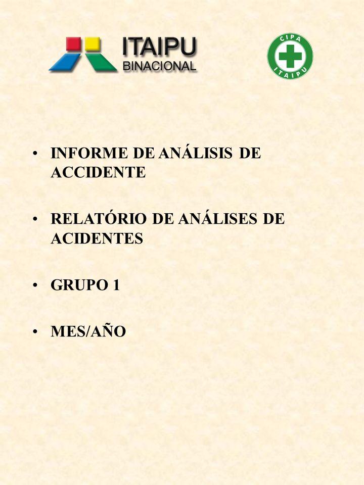INFORME DE ANÁLISIS DE ACCIDENTE RELATÓRIO DE ANÁLISES DE ACIDENTES GRUPO 1 MES/AÑO
