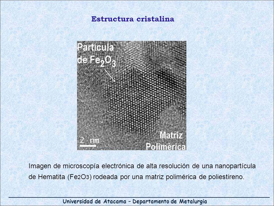 Universidad de Atacama – Departamento de Metalurgia Imagen de microscopía electrónica de alta resolución de una nanopartícula de Hematita (Fe 2 O 3 )