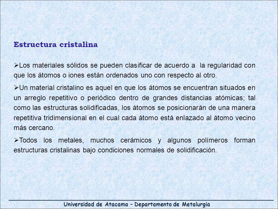 Universidad de Atacama – Departamento de Metalurgia Los materiales sólidos se pueden clasificar de acuerdo a la regularidad con que los átomos o iones