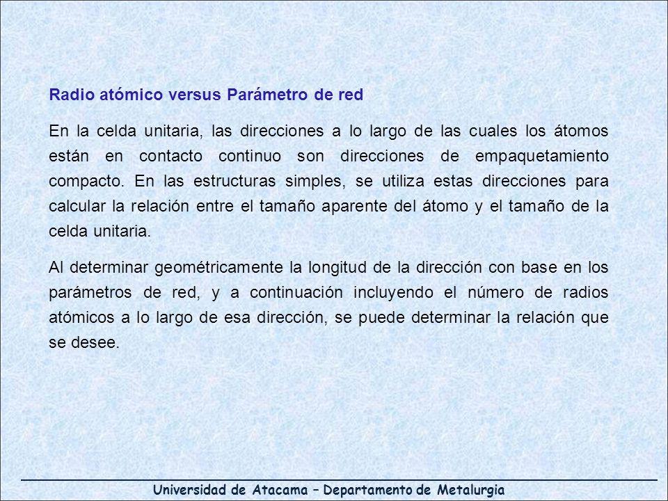 Universidad de Atacama – Departamento de Metalurgia Radio atómico versus Parámetro de red En la celda unitaria, las direcciones a lo largo de las cual