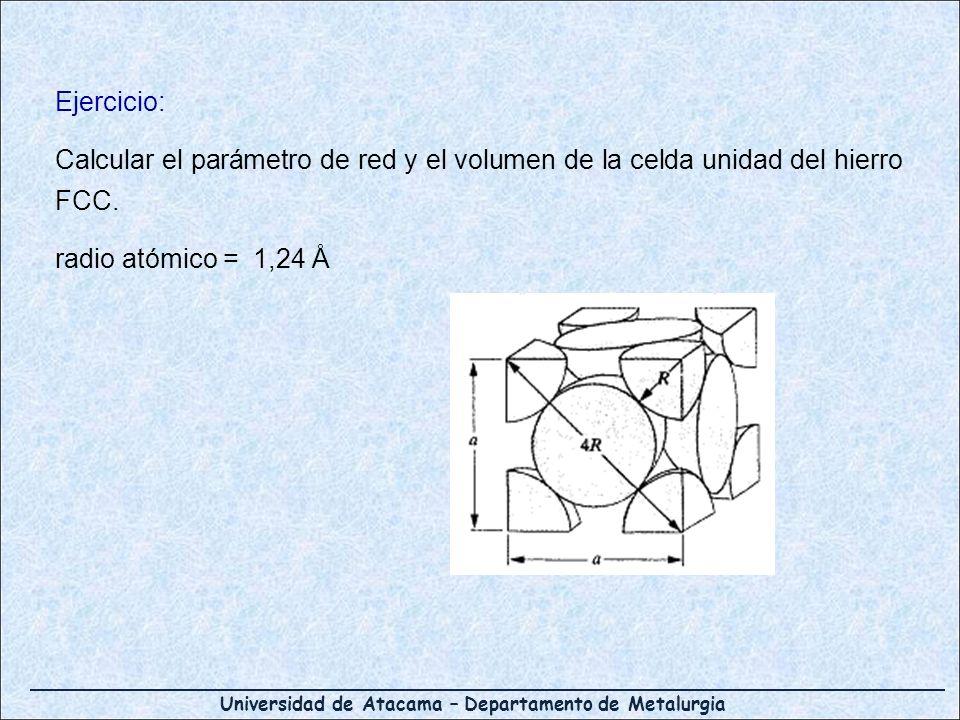 Universidad de Atacama – Departamento de Metalurgia Ejercicio: Calcular el parámetro de red y el volumen de la celda unidad del hierro FCC. radio atóm