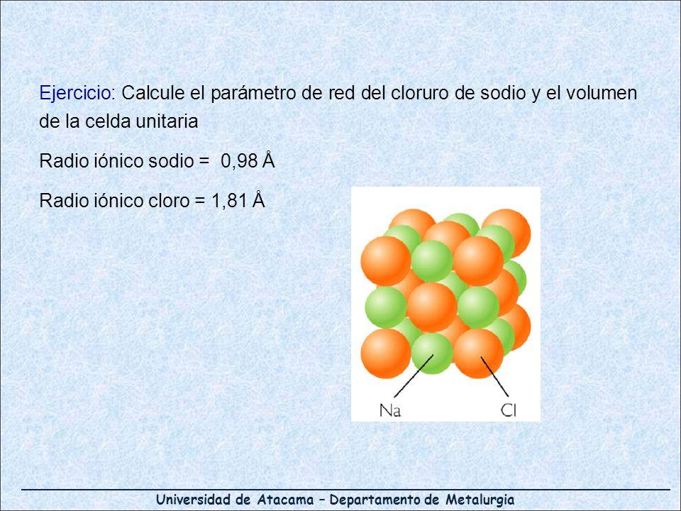 Universidad de Atacama – Departamento de Metalurgia Ejercicio: Calcule el parámetro de red del cloruro de sodio y el volumen de la celda unitaria Radi
