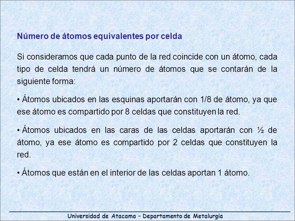 Universidad de Atacama – Departamento de Metalurgia Número de átomos equivalentes por celda Si consideramos que cada punto de la red coincide con un á