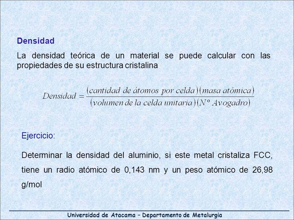 Universidad de Atacama – Departamento de Metalurgia Densidad La densidad teórica de un material se puede calcular con las propiedades de su estructura