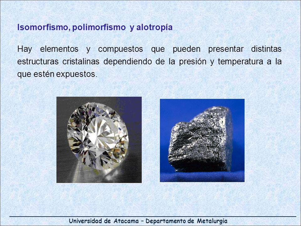 Universidad de Atacama – Departamento de Metalurgia Isomorfismo, polimorfismo y alotropía Hay elementos y compuestos que pueden presentar distintas es