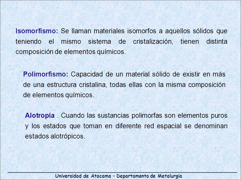 Universidad de Atacama – Departamento de Metalurgia Isomorfismo: Se llaman materiales isomorfos a aquellos sólidos que teniendo el mismo sistema de cr