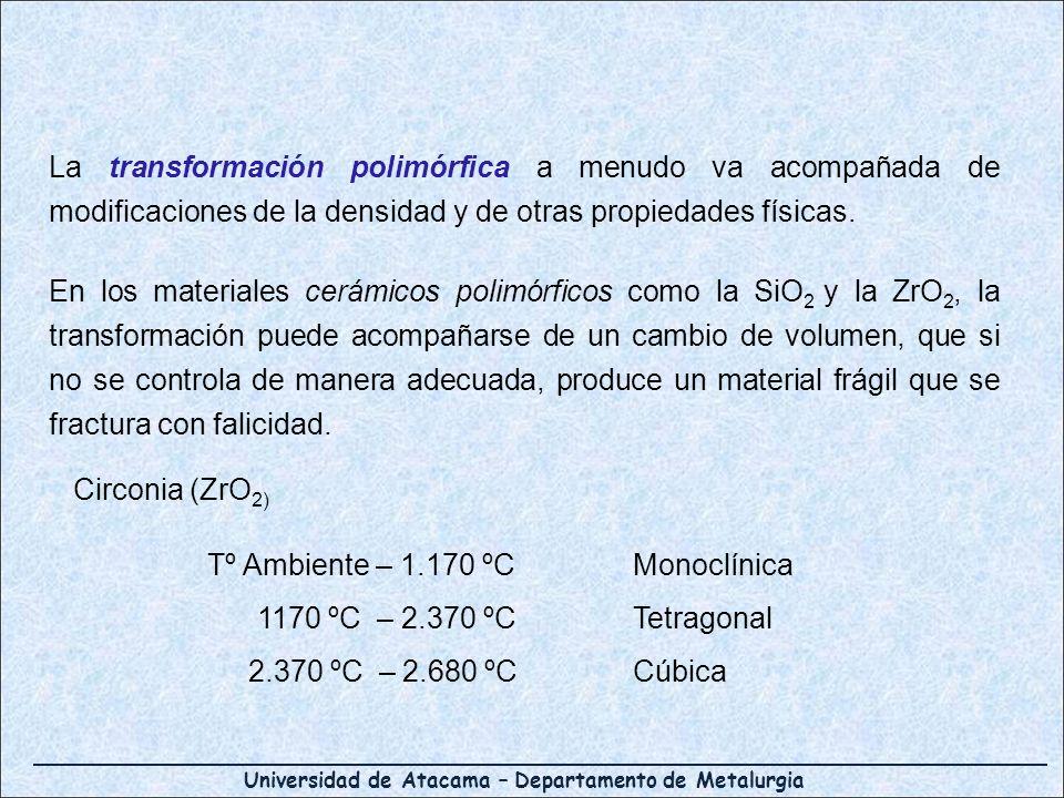 Universidad de Atacama – Departamento de Metalurgia La transformación polimórfica a menudo va acompañada de modificaciones de la densidad y de otras p