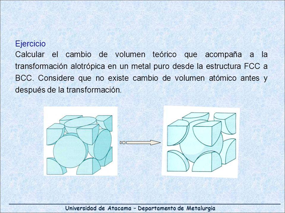 Universidad de Atacama – Departamento de Metalurgia Ejercicio Calcular el cambio de volumen teórico que acompaña a la transformación alotrópica en un