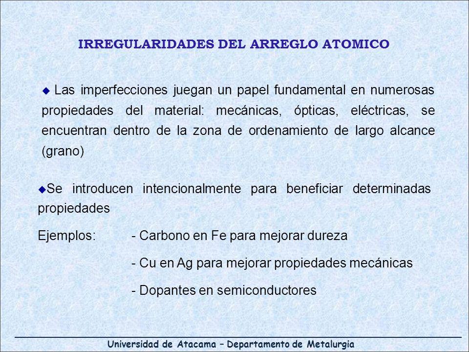 Universidad de Atacama – Departamento de Metalurgia IRREGULARIDADES DEL ARREGLO ATOMICO Las imperfecciones juegan un papel fundamental en numerosas pr
