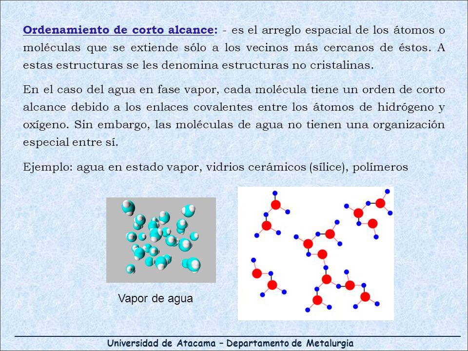 Universidad de Atacama – Departamento de Metalurgia Ordenamiento de corto alcance: - es el arreglo espacial de los átomos o moléculas que se extiende