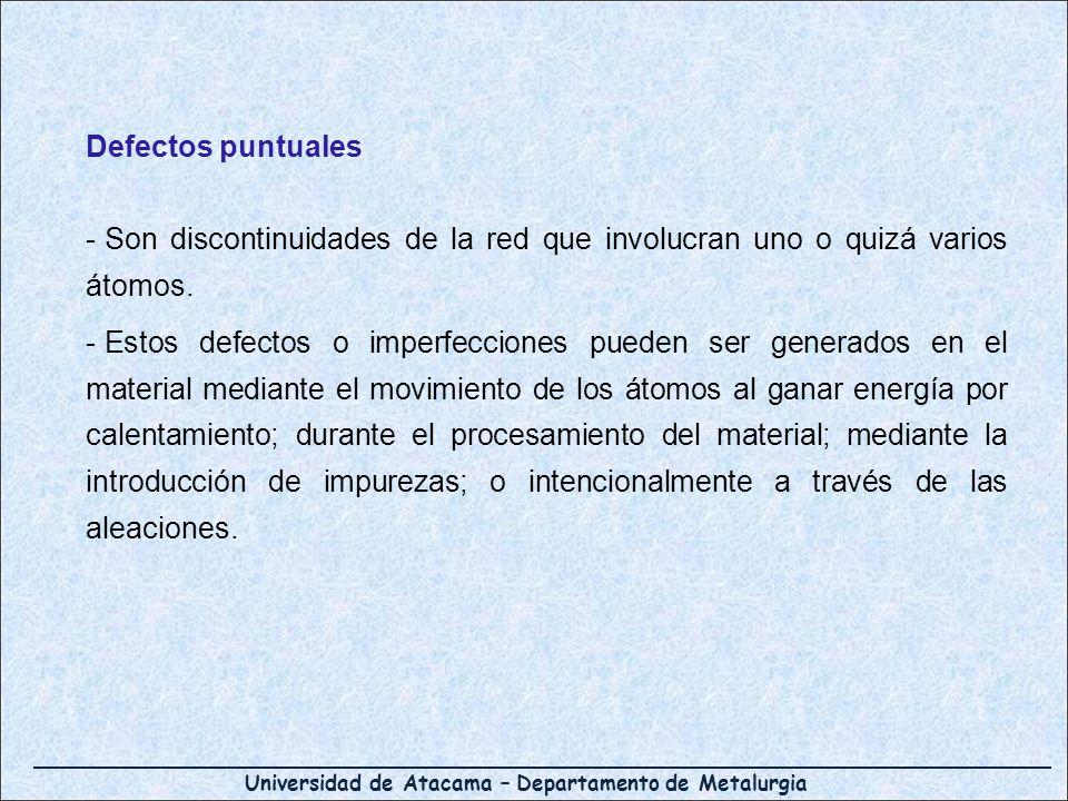 Universidad de Atacama – Departamento de Metalurgia Defectos puntuales - Son discontinuidades de la red que involucran uno o quizá varios átomos. - Es
