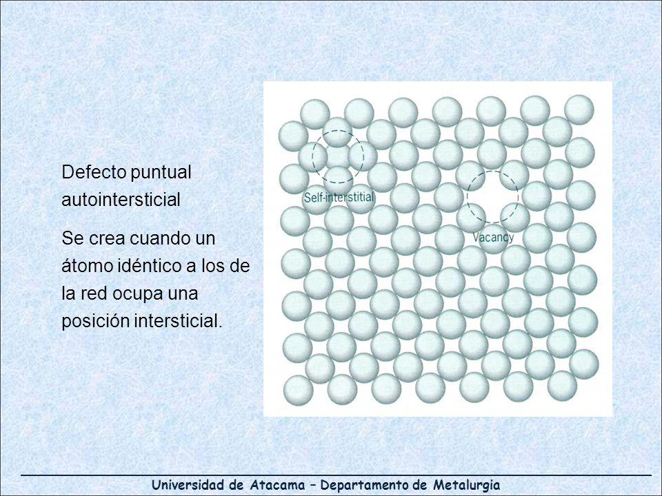 Universidad de Atacama – Departamento de Metalurgia Defecto puntual autointersticial Se crea cuando un átomo idéntico a los de la red ocupa una posici