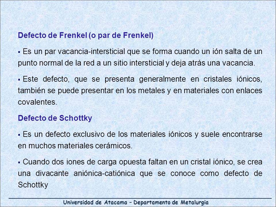 Defecto de Frenkel (o par de Frenkel) Es un par vacancia-intersticial que se forma cuando un ión salta de un punto normal de la red a un sitio interst