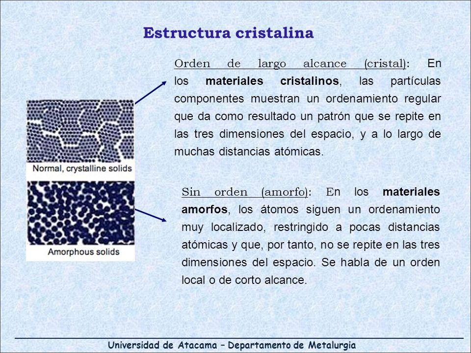 Universidad de Atacama – Departamento de Metalurgia Estructura cristalina Orden de largo alcance (cristal): En los materiales cristalinos, las partícu