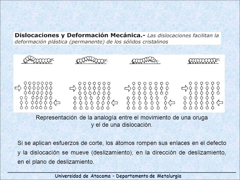 Universidad de Atacama – Departamento de Metalurgia Representación de la analogía entre el movimiento de una oruga y el de una dislocación. Si se apli