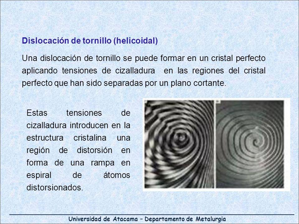 Universidad de Atacama – Departamento de Metalurgia Dislocación de tornillo (helicoidal) Una dislocación de tornillo se puede formar en un cristal per