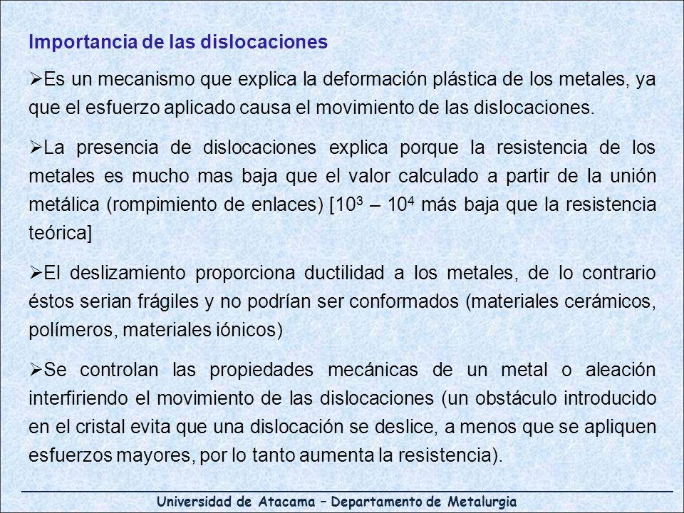 Importancia de las dislocaciones Es un mecanismo que explica la deformación plástica de los metales, ya que el esfuerzo aplicado causa el movimiento d