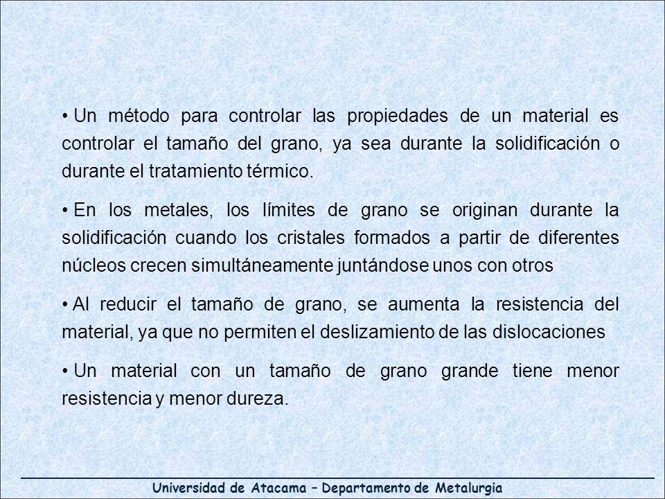 Universidad de Atacama – Departamento de Metalurgia Un método para controlar las propiedades de un material es controlar el tamaño del grano, ya sea d