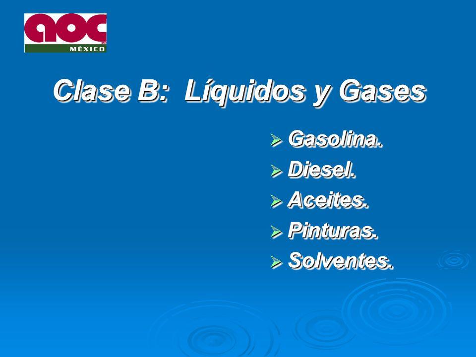 Clase B: Líquidos y Gases Gasolina.Gasolina. Diesel.