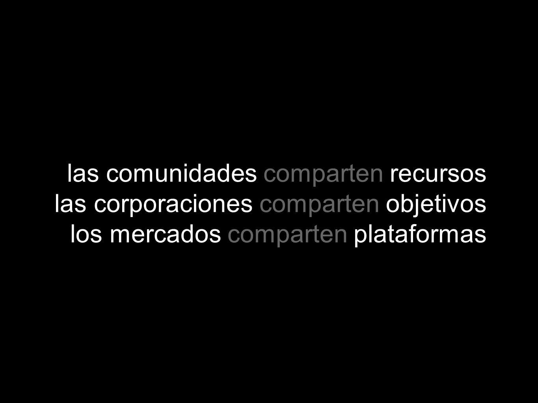 las comunidades comparten recursos las corporaciones comparten objetivos los mercados comparten plataformas
