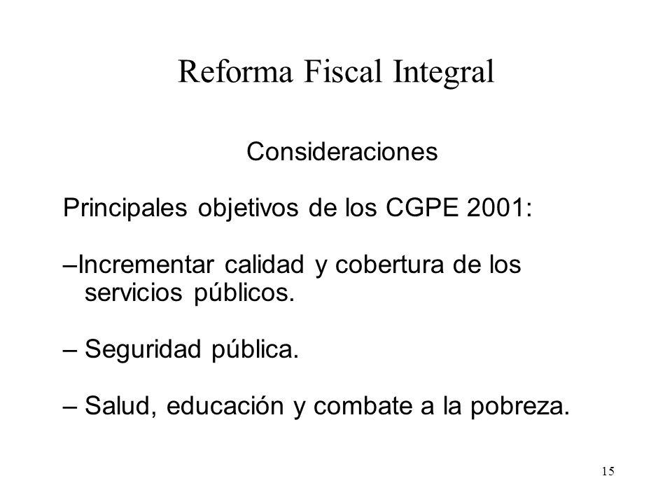 15 Reforma Fiscal Integral Consideraciones Principales objetivos de los CGPE 2001: –Incrementar calidad y cobertura de los servicios públicos. – Segur