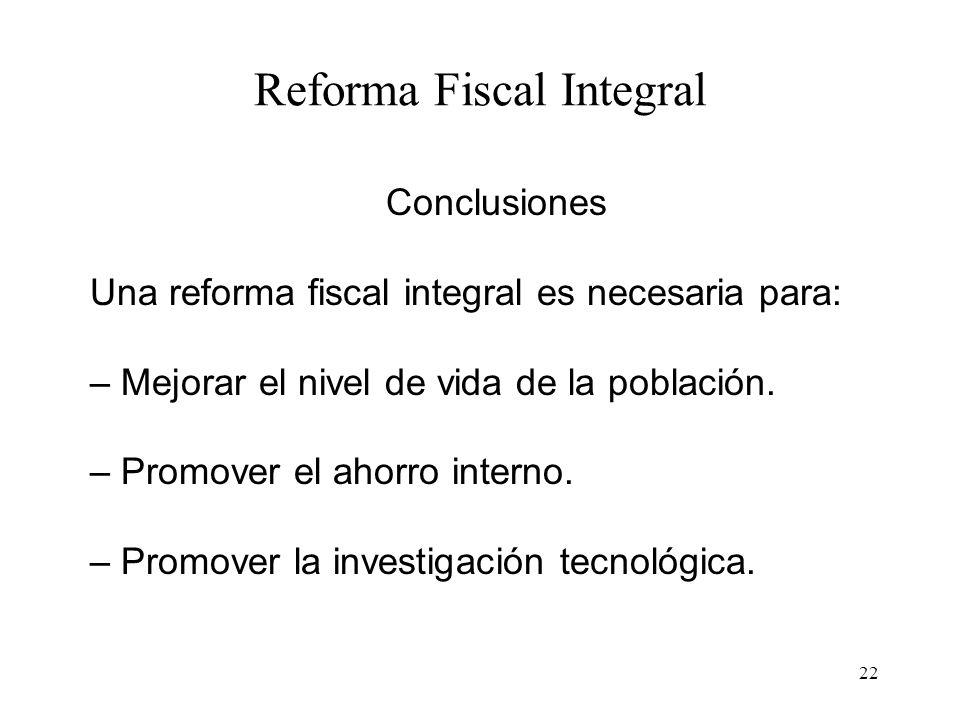 22 Reforma Fiscal Integral Conclusiones Una reforma fiscal integral es necesaria para: – Mejorar el nivel de vida de la población. – Promover el ahorr